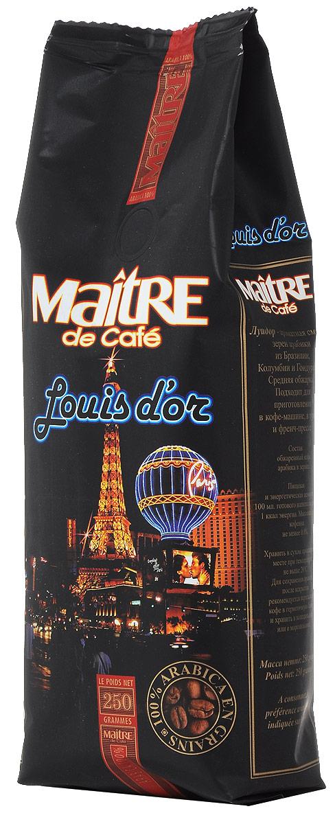 Maitre Луидор кофе в зернах, 250 г4607099092914Maitre Луидор - ароматная смесь зёрен арабики из Бразилии, Колумбии и Гондураса. При приготовлении эспрессо даёт великолепный крем и сбалансированный вкус. Подходит также для приготовления кофе в турке и френч-прессе.