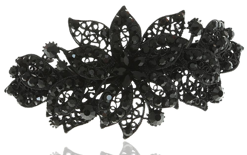 Заколка для волос в византийском стиле от D.Mari. Кристаллы черного цвета, филигрань, бижутерный сплав, черная эмаль. Гонконг
