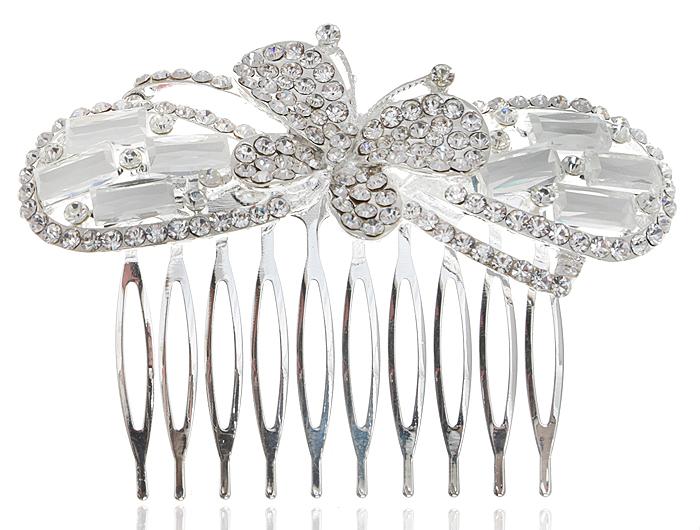 Гребень для волос 'Адажио'. Прозрачные кристаллы и стразы, бижутерный сплав серебряного тона. Villa di Mario, Италия