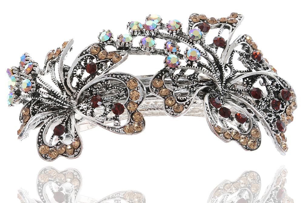 Заколка для волос в византийском стиле от D.Mari. Кристаллы Aurora Borealis, кристаллы золотистого цвета, бижутерный сплав серебряного тона. Гонконг