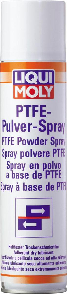 Спрей тефлоновый Liqui Moly PTFE-Pulver-Spray, 0,4 л3076Смазка Liqui Moly PTFE-Pulver-Spray, образующая сухой прозрачный слой на трущихся поверхностях на основе ПТФЭ (политетрафторэтилена). Предназначена для смазывания контактных зон, где необходима нелипкая смазка и невозможно использование масляных или силиконовых смазок. Отлично подходит для смазывания уплотнителей стекол автомобилей. Отлично подходит для дверных замков, где белая смазка не подходит по цвету кузова. Смазка также предназначена для использования в качестве разделяющего слоя на пресс-формах при производстве пластиков/каучуков. Особенности: Не содержит масел, жиров и силикона - нейтральна к чувствительным пластикам и резине. Обладает высокой химической устойчивостью. Высокая адгезия слоя смазки. Прочен при высокой температуре. Устраняет впитывание. Подходит для ухода, зашиты и изоляции. Основа: ПТФЭ. Товар сертифицирован.