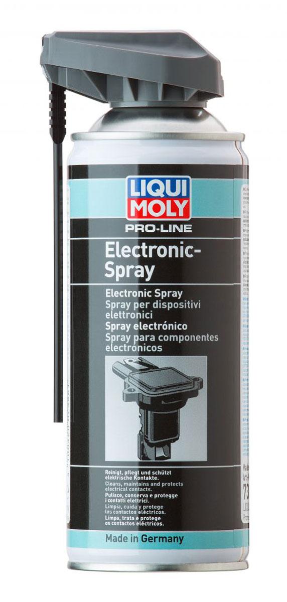Спрей для электропроводки Liqui Moly Pro-Line Electronic-Spray, 0,4 л7386Спрей Liqui Moly Pro-Line Electronic-Spray применяется для обслуживания и ухода (чистки и защиты) всех электрических конструктивных элементов транспортных средств, таких как: штекерные и клеммные соединения, цоколи ламп, кабельные переключатели, прерыватели, стартеры, осветительные приборы, генераторы, полюса батарей, антенны, тонкие механические устройства. Особенности: Очищает загрязненные контакты. Точно наносится при использовании распыляющей трубочки. Быстро высыхает Защищает от коррозии. Вытесняет воду, защищает от влажности. Удаляет окислы и сульфиды. Уменьшает переходное сопротивление. Совместим с пластиками и резиной. Распыляется при любом положении баллона. Не содержит силикона. База: синтетическое масло/присадки. Товар сертифицирован.