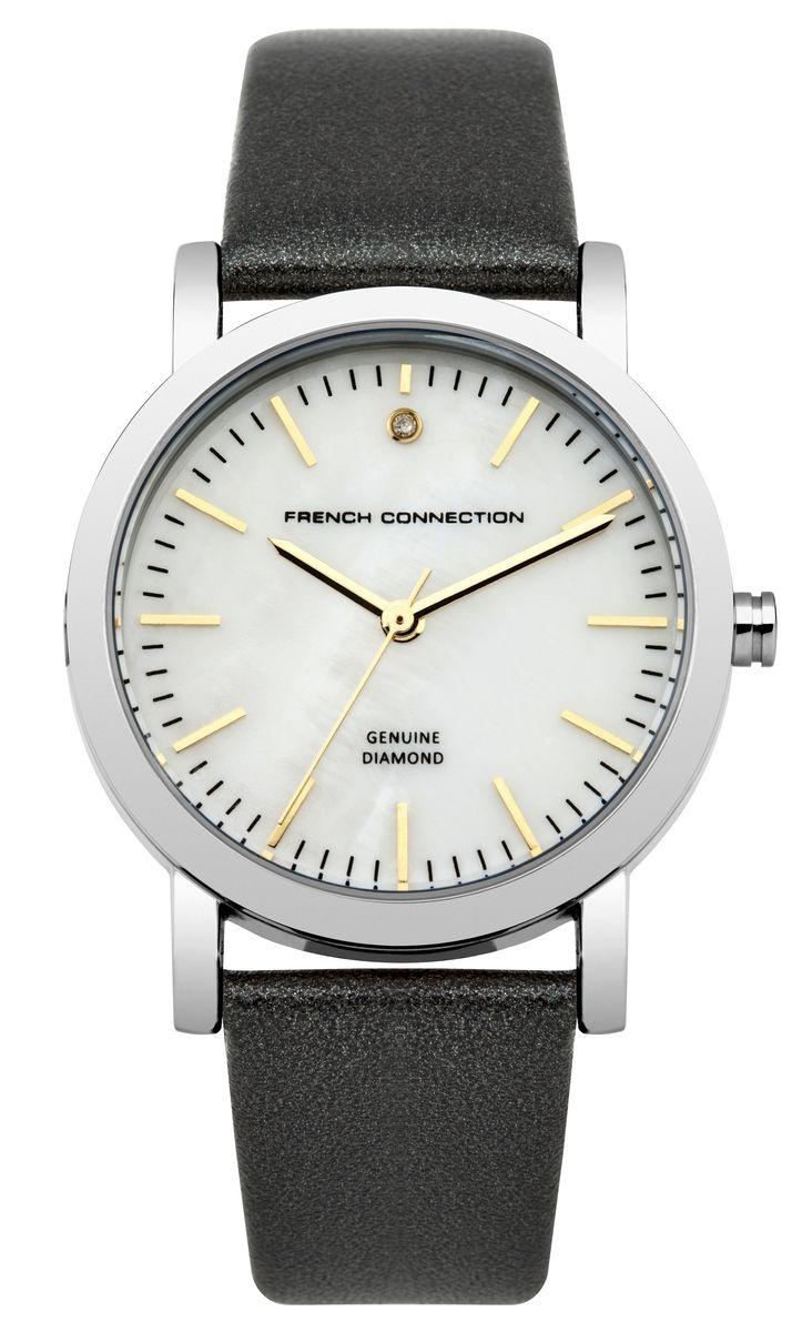 Часы наручные женские French Connection FC, цвет: черный, перламутровый. FC1250BFC1250BСтильные часы French Connection FC - это модный и практичный аксессуар, который не только выгодно дополнит ваш наряд, но и будет незаменим для каждой современной девушки, ценящей свое время. Корпус выполнен из нержавеющей стали. Перламутровый циферблат оформлен логотипом бренда и украшен инкрустацией натуральным бриллиантом. Корпус изделия имеет степень влагозащиты 3 Bar, оснащен кварцевым механизмом и дополнен устойчивым к царапинам минеральным стеклом. Изысканный ремешок выполнен из натуральной кожи и дополнен пряжкой, которая позволяет с легкостью снимать и надевать изделие. Часы поставляются в фирменной упаковке. Часы French Connection подчеркнут изящество ваших рук и ваш неповторимый стиль и элегантность.