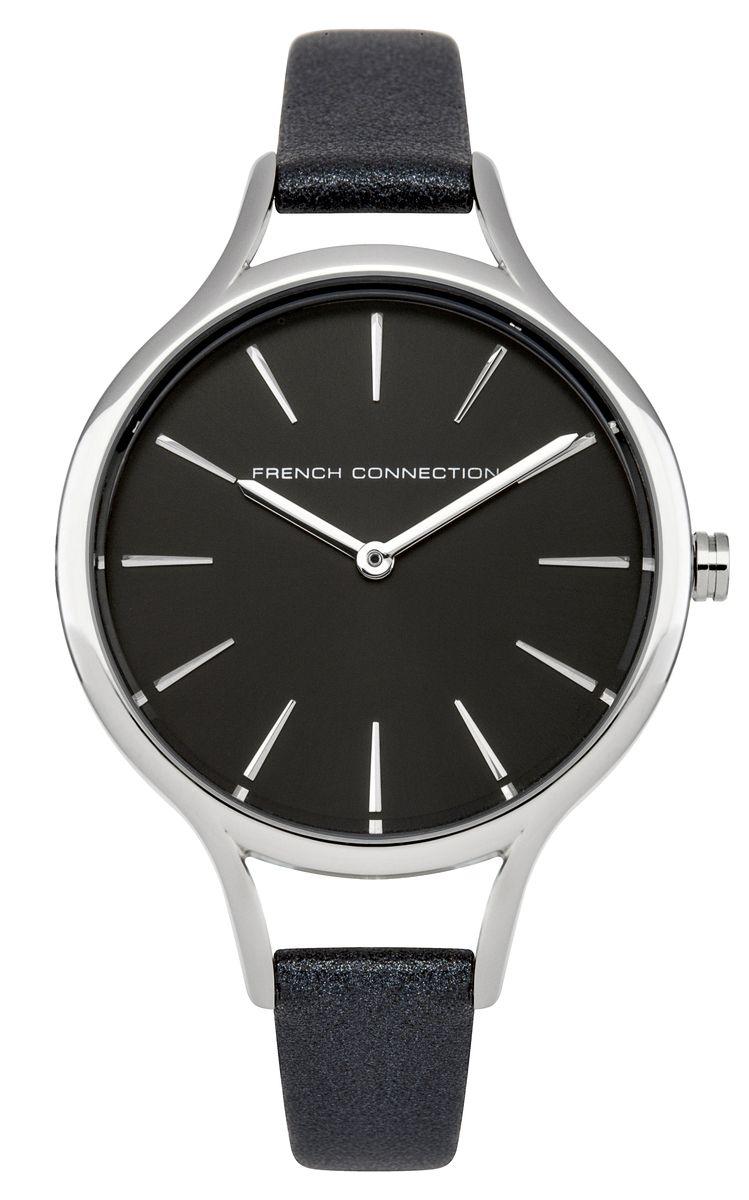Часы наручные женские French Connection Slim Facet, цвет: темно-серый. FC1253BFC1253BСтильные часы French Connection Slim Facet - это модный и практичный аксессуар, который не только выгодно дополнит ваш наряд, но и будет незаменим для каждой современной девушки, ценящей свое время. Корпус выполнен из нержавеющей стали. Контрастный циферблат оформлен логотипом бренда. Корпус изделия имеет степень влагозащиты 3 Bar, оснащен кварцевым механизмом и дополнен устойчивым к царапинам минеральным стеклом. Изысканный узкий ремешок выполнен из натуральной кожи и дополнен пряжкой, которая позволяет с легкостью снимать и надевать изделие. Часы поставляются в фирменной упаковке. Часы French Connection подчеркнут изящество ваших рук и ваш неповторимый стиль и элегантность.