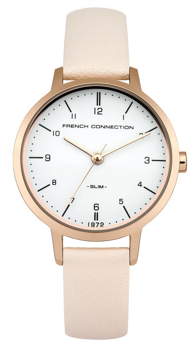 Часы наручные женские French Connection Slim Range, цвет: золотистый, бежевый. FC1256CRGFC1256CRGСтильные часы French Connection Slim Range - это модный и практичный аксессуар, который не только выгодно дополнит ваш наряд, но и будет незаменим для каждой современной девушки, ценящей свое время. Корпус выполнен из нержавеющей стали. Контрастный циферблат оформлен логотипом бренда. Корпус изделия имеет степень влагозащиты 3 Bar, оснащен кварцевым механизмом и дополнен устойчивым к царапинам минеральным стеклом. Изысканный ремешок выполнен из натуральной кожи и дополнен пряжкой, которая позволяет с легкостью снимать и надевать изделие. Часы поставляются в фирменной упаковке. Часы French Connection подчеркнут изящество ваших рук и ваш неповторимый стиль и элегантность.