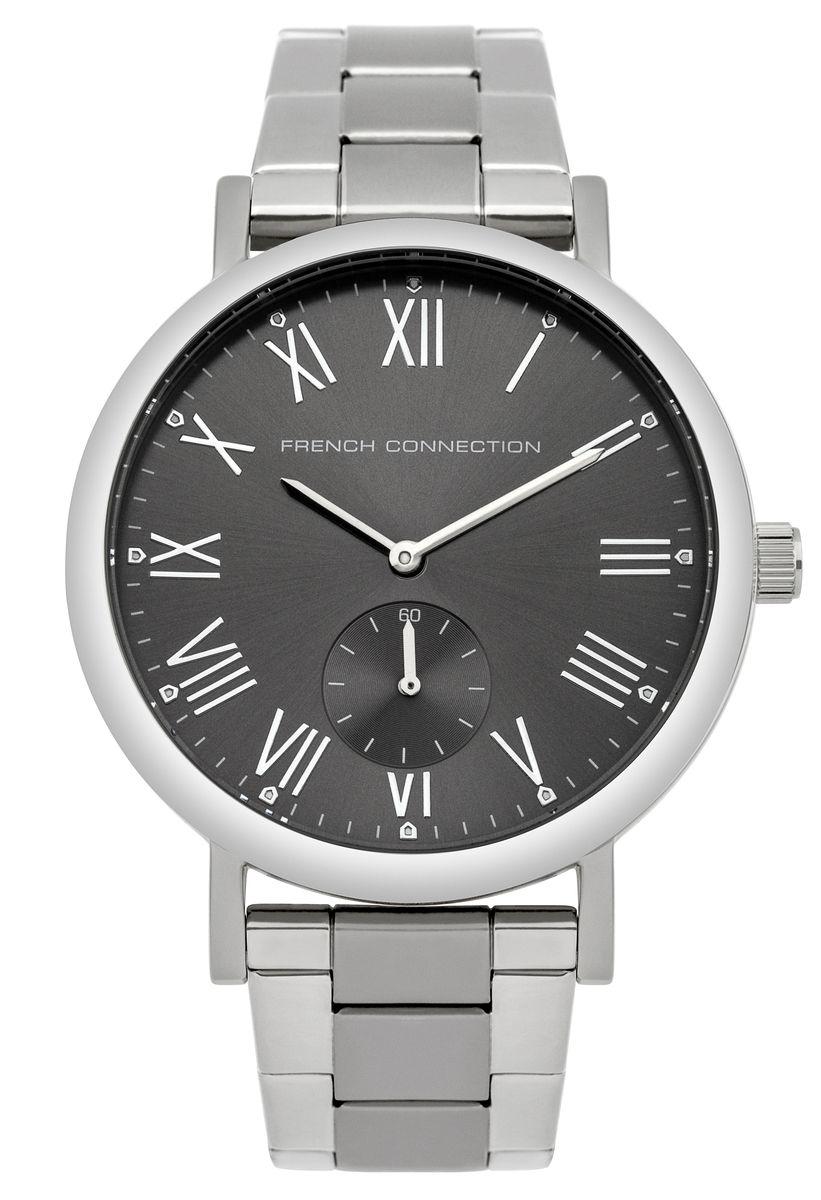 Часы наручные French Connection FC, цвет: серебристый, серый. FC1259BMFC1259BMСтильные часы French Connection - это модный и практичный аксессуар, который не только выгодно дополнит ваш образ, но и будет незаменим для каждого современного человека, ценящего свое время. Корпус часов выполнен из нержавеющей стали. Циферблат оформлен символикой бренда и оснащен отдельным индикатором с секундной стрелкой. Корпус изделия имеет степень влагозащиты 3 Bar, оснащен кварцевым механизмом и дополнен устойчивым к царапинам минеральным стеклом. Ремешок выполнен из нержавеющей стали и оснащен раскладывающейся застежкой, которая позволит с легкостью снимать и надевать изделие. Часы поставляются в фирменной упаковке. Часы French Connection подчеркнут подчеркнут ваш неповторимый стиль и дополнят любой наряд.