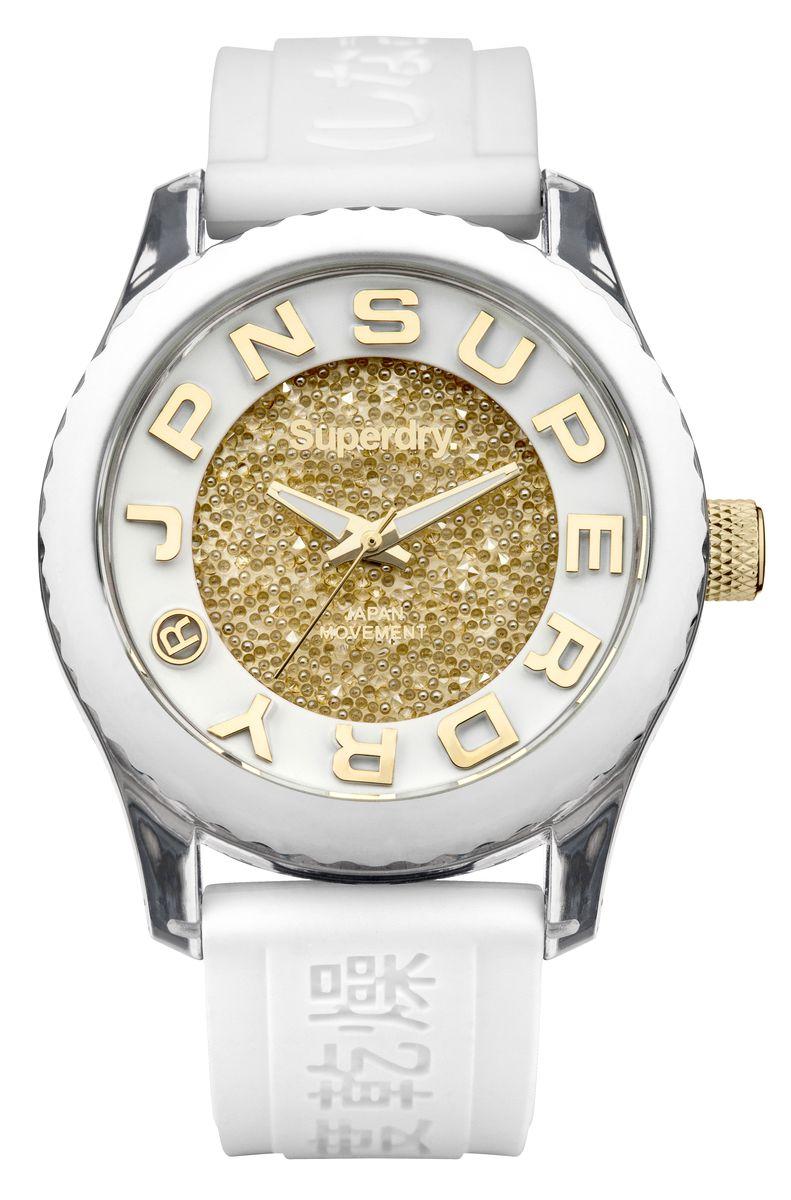 Наручные часы Superdry Urban, цвет: белый. SYL174WGSYL174WGТрехстрелочный механизм 2033, размер корпуса 38mm, минеральное стекло, белый циферблат с кристаллами Swarovski, белый силиконовый ремень, водозащита 5 ATM