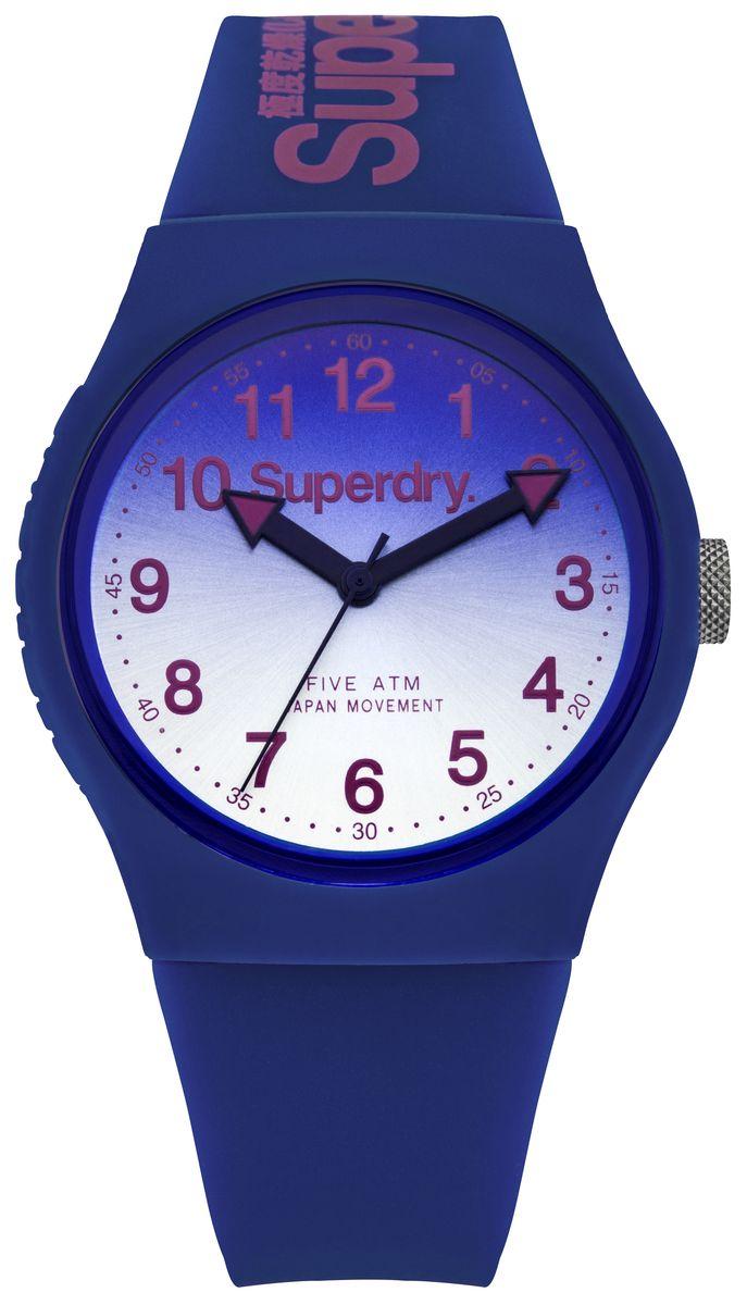 Наручные часы Superdry Urban, цвет: синий. SYG198UUSYG198UUТрехстрелочный механизм PC21J, размер корпуса 38 mm, хезалитовое стекло, Оранжево-синий циферблат, нет камней, темно-синий силиконовый ремень, водозащита 5 ATM