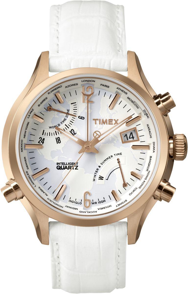 Наручные часы женские Timex IQ, цвет: белый. TW2P87800TW2P87800Механизм IQ World Time время в 24 городах мира, индикатор сезона,Подсветка Indiglo,Дата,Корпус и браслет из нержавеющей стали,Ремешок из натуральной кожи,Водозащита10АТM,Ширина корпуса 44 мм, Ширина ремешка 20мм