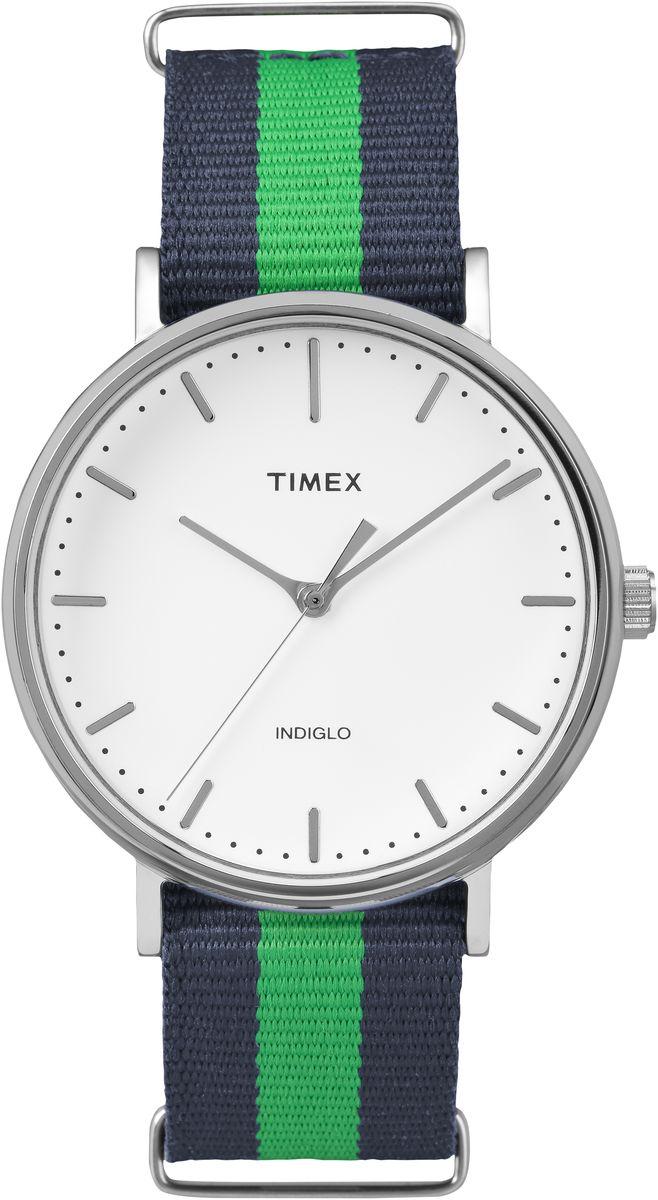 Наручные часы мужские Timex Weekender, цвет: синий, зеленый. TW2P90800TW2P90800Серебрянный корпус,Белый циферблат,Текстильный сплошной ремешок, Водозащита 3АТм,Подстветка Indiglo®,Ширина корпуса 41мм,Ширина ремешка 20мм