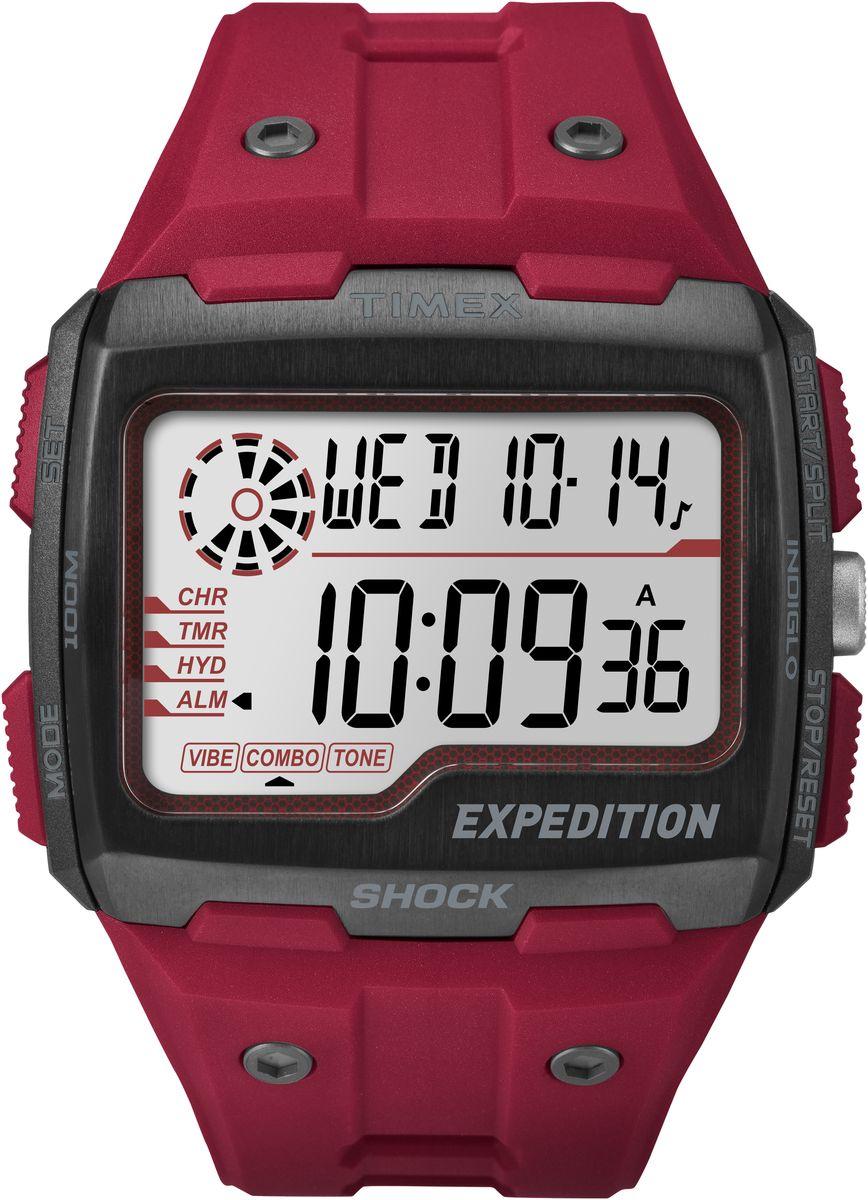 Наручные часы мужские Timex Digital Shock, цвет: красный. TW4B03900TW4B03900Ударопрочность I.S.O. Верхняя часть безеля из нержавеющей стали, Секундомер, таймер обратного отсчета, будильник с вибрацией & hydration alerts,Водозащита 10АТМ, Подстветка INDIGLO,Ширина корпуса 50мм, Ширина ремешка 12мм, Черный силиконовый корпус