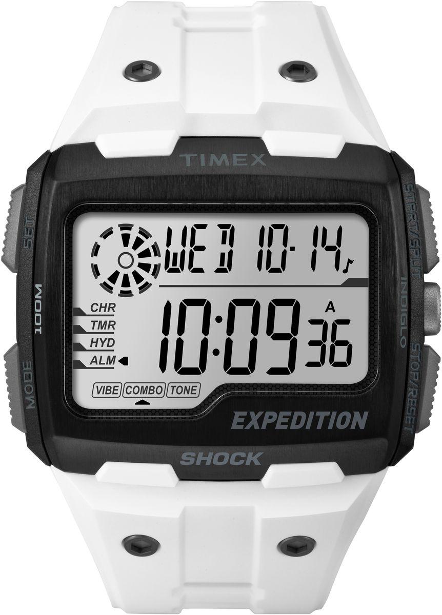 Наручные часы мужские Timex Digital Shock, цвет: белый. TW4B04000TW4B04000Ударопрочность I.S.O. Верхняя часть безеля из нержавеющей стали, Секундомер, таймер обратного отсчета, будильник с вибрацией & hydration alerts,Водозащита 10АТМ, Подстветка INDIGLO,Ширина корпуса 50мм, Ширина ремешка 12мм, Черный силиконовый корпус