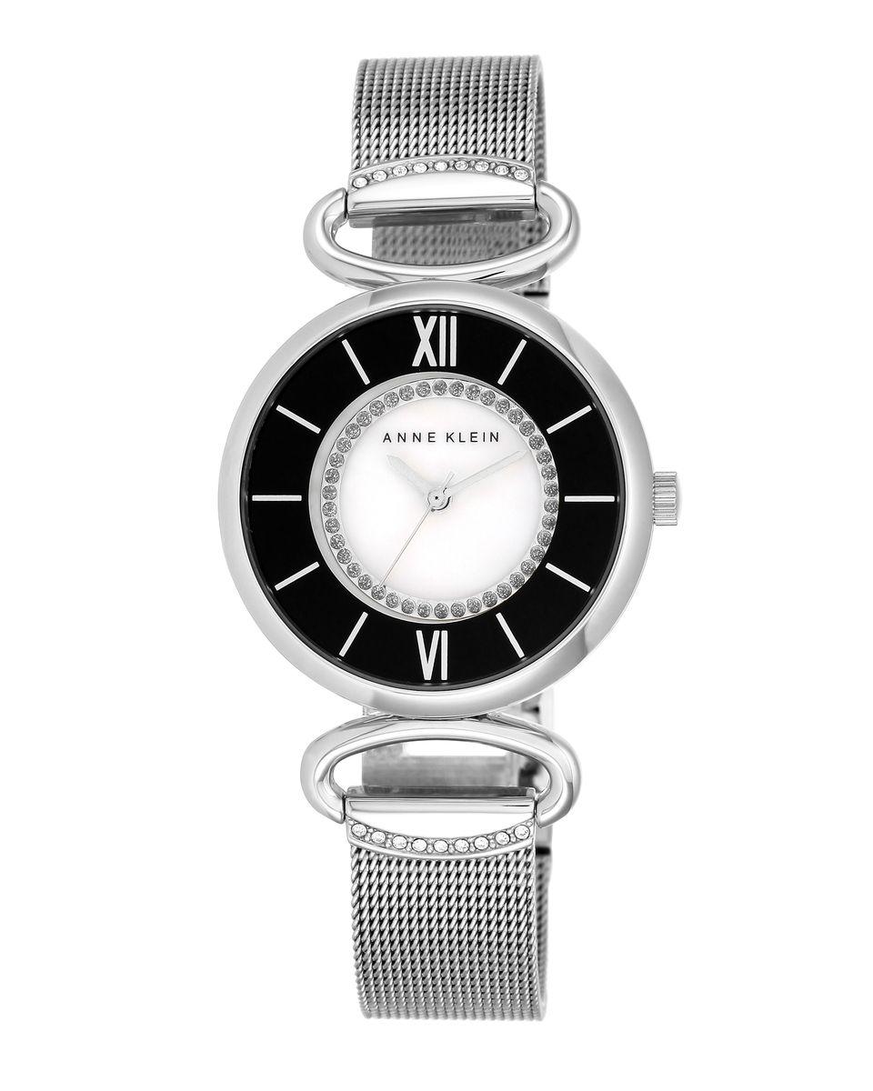 Наручные часы женские Anne Klein Ring, цвет: серебристый. 2151 MPSV2151 MPSVКорпус 32 мм, циферблат из натурального перламутра белого цвета, браслет из плетения из нержавеющей стали, водозащита 3 АТМ