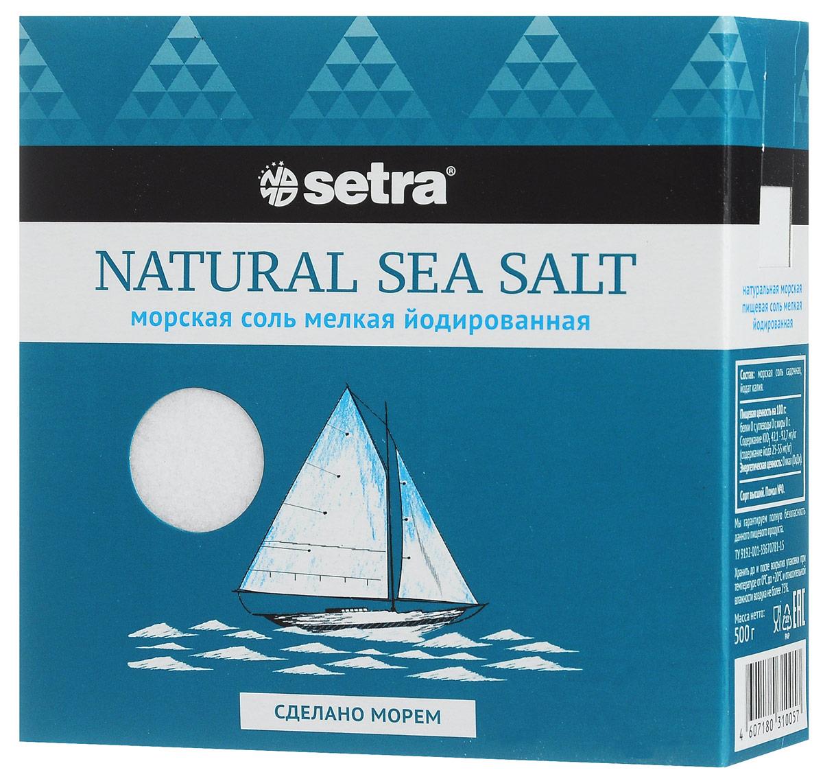 Setra соль морская мелкая йодированная, 500 г бте002