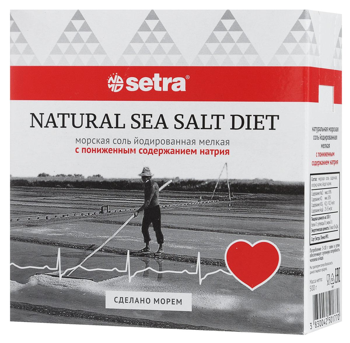 Setra соль морская мелкая йодированная с пониженным содержанием натрия, 500 гбте005Особая морская соль от Setra, в которой 30% хлорида натрия заменено на хлорид калия, магний и йод. Таким образом, используя привычное количество соли, вы потребляете на треть меньше натрия и получаете дефицитные калий и магний, стимулирующие работу сердечной мышцы, мозга и почек.