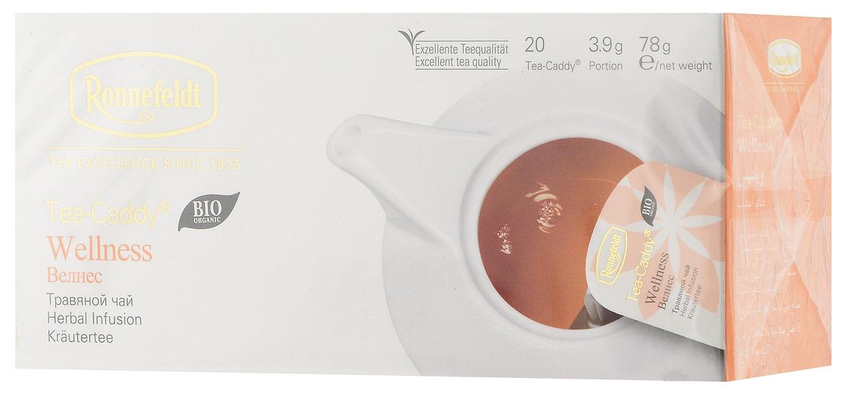 Ronnefeldt Велнес травяной чай в пакетиках для чайника, 20 шт13100Ronnefeldt Велнес - тонизирующий травяной чай с ройбушем, мятой, анисом и другими свежими ингредиентами. Пакетики Tea-Caddy - оригинальный продукт Ronnefeldt, облегчающий безупречное приготовление изысканного листового чая в чайнике. Благодаря просторному пакетику, чайные листья могут полностью раскрыться и предать напитку свой аромат
