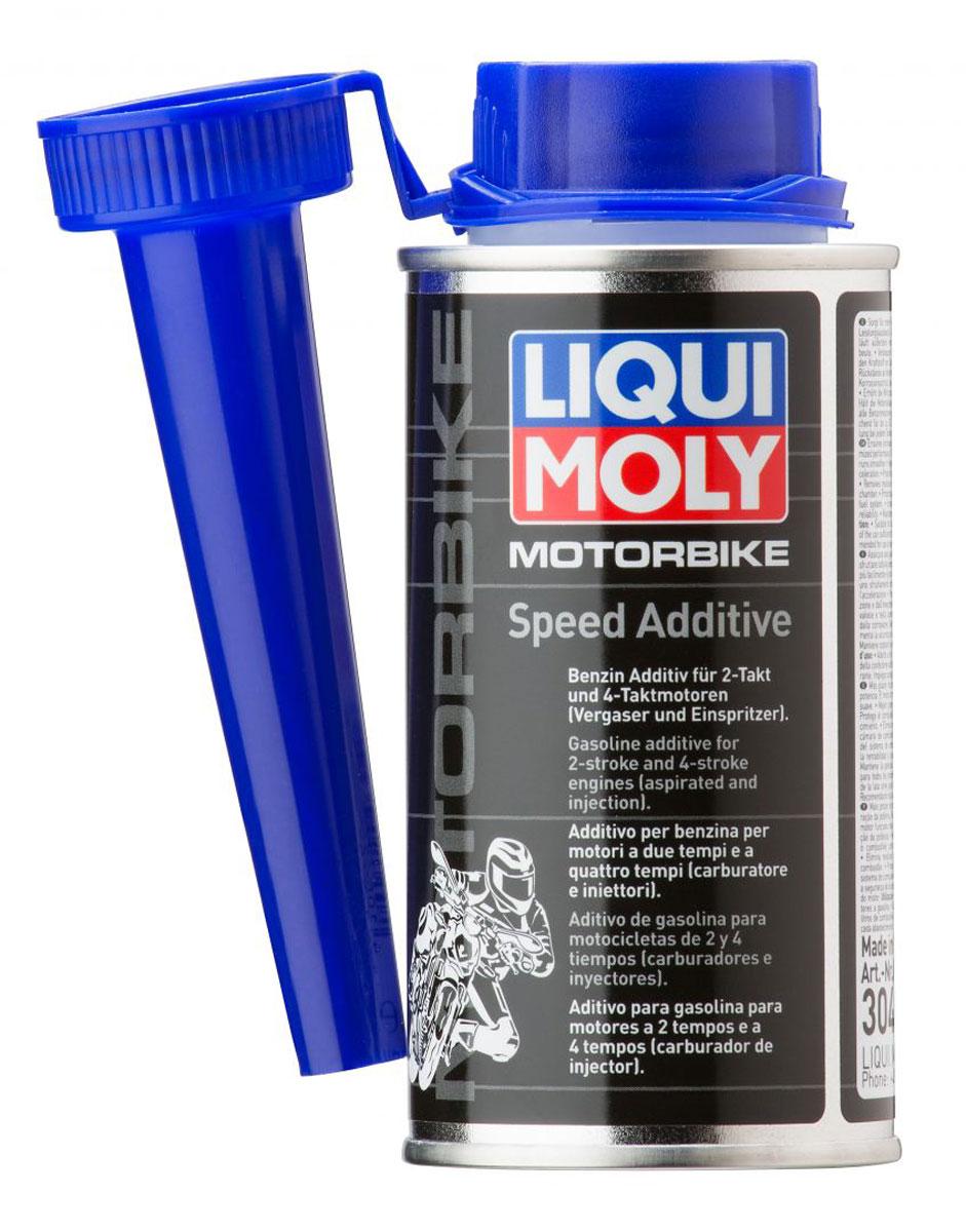 Присадка Liqui Moly Motorbike Speed Additive, ускоряющая, 150 мл3040Присадка Liqui Moly Motorbike Speed Additive добавляется в бензин, модифицирует процесс сгорания топлива, делает сгорание более полным при режимах частичной нагрузки, что улучшает разгонную динамику мотоциклов. Особенности: Прирост производительности двигателя Улучшает сгорание топлива и разгон мотоцикла. Защищает топливо от старения и окисления. Удаляет отложения в топливной системе и в камерах сгорания. Защищает от коррозии. Позволяет начать сезонную эксплуатацию техники на бензине, залитом при постановке на консервацию. База: комбинация присадок в жидкости-носителе. Товар сертифицирован.