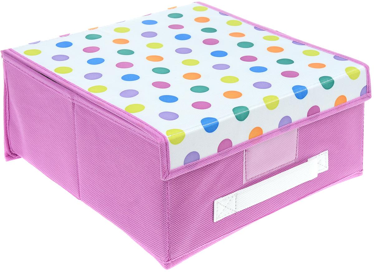 Чехол-коробка Cosatto Viola. Кидс, цвет: розовый, белый, 30 х 30 х 16 смCOVLSCBY11K_розовыйЧехол-коробка Cosatto Viola. Кидс поможет легко и красиво организовать пространство в детской комнате. Изделие выполнено из полиэстера и нетканого материала, прочность каркаса обеспечивается наличием внутри плотных и толстых листов картона. Чехол-коробка закрывается крышкой на две липучки, что поможет защитить вещи от пыли и грязи. Сбоку имеется ручка. Такой чехол идеально подойдет для хранения игрушек и детских вещей. Яркий дизайн изделия привлечет внимание ребенка и вызовет у него желание самостоятельно убирать игрушки. Складная конструкция обеспечивает компактное хранение.