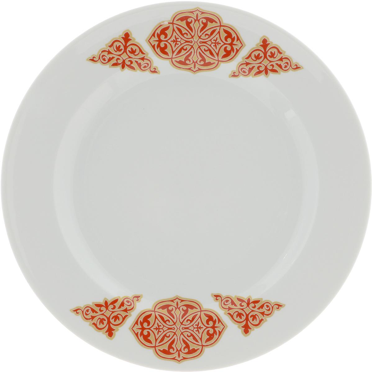 Тарелка Идиллия. Восточный, диаметр 23,5 см1224533Тарелка Идиллия. Восточный изготовлена из высококачественного фарфора. Изделие декорировано красочным изображением. Такая тарелка отлично подойдет в качестве блюда, она идеальна для сервировки закусок, нарезок, горячих блюд. Тарелка прекрасно дополнит сервировку стола и порадует вас оригинальным дизайном. Диаметр тарелки: 23,5 см. Высота стенки: 3 см.