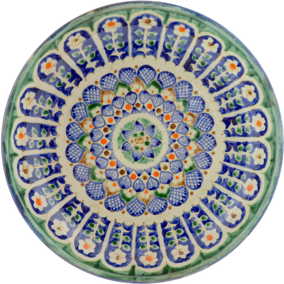 Ляган Sima-land Риштан, диаметр 24,5 см. 13358901335890Ляган Sima-land Риштан, выполненный из высококачественной керамики, отлично подойдет для подачи плова или фруктов. Такой элемент посуды является предметом национальной узбекской посуды. Ляган отлично подходит как для торжественных случаев, так и для повседневного использования. Он прекрасно оформит стол и станет отличным дополнением к вашей коллекции кухонной посуды.