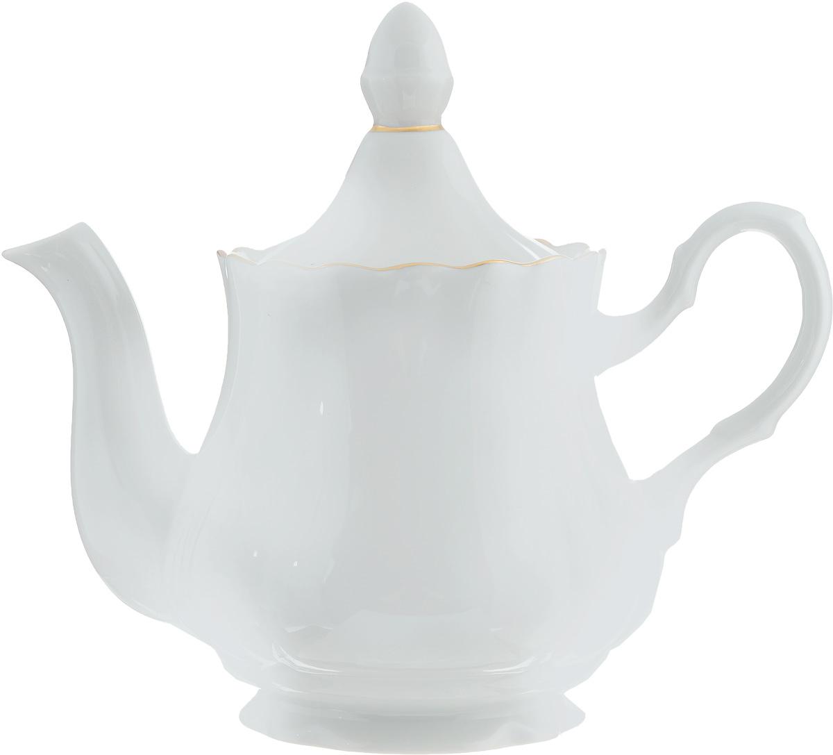 Чайник заварочный Романс, 800 мл507771Заварочный чайник Романс выполнен из высококачественного фарфора и покрыт сверкающей глазурью. Изделие оснащено крышкой. Заварочный чайник Романс придется по вкусу и ценителям классики, и тем, кто предпочитает утонченность и изысканность. Диаметр (по верхнему краю): 9,5 см. Высота чайника (без учета крышки): 14 см.