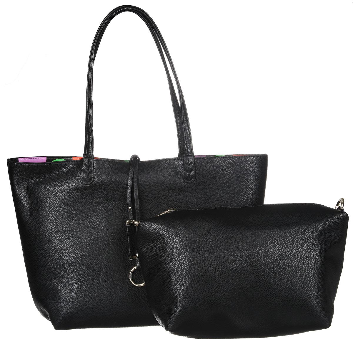 Сумка женская Vitacci, цвет: черный. 63526-1363526-13Изысканная женская сумка Vitacci выполнена из качественной искусственной кожи, оформлена декоративным хлястиком с металлическими подвесками. Удобные ручки крепятся к корпусу сумки. Внутри сумка оснащена съемным отделением с текстильной подкладкой, выполненным из искусственной кожи черного цвета, внутри которого содержится два накладных кармана для телефона и мелких принадлежностей, а также врезной карман на молнии. Съемное отделение имеет металлические крепежи для плечевого ремешка, поэтому его можно использовать как отдельный аксессуар. Комплект оснащен съемным плечевым ремнем регулируемой длины, которые позволят носить изделие как в руках так и на плече. Практичная и стильная сумка прекрасно завершит ваш образ.