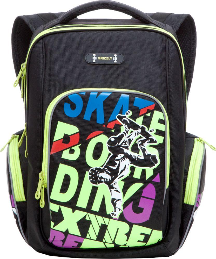 Grizzly Рюкзак школьный цвет черный салатовыйRB-630-2/1