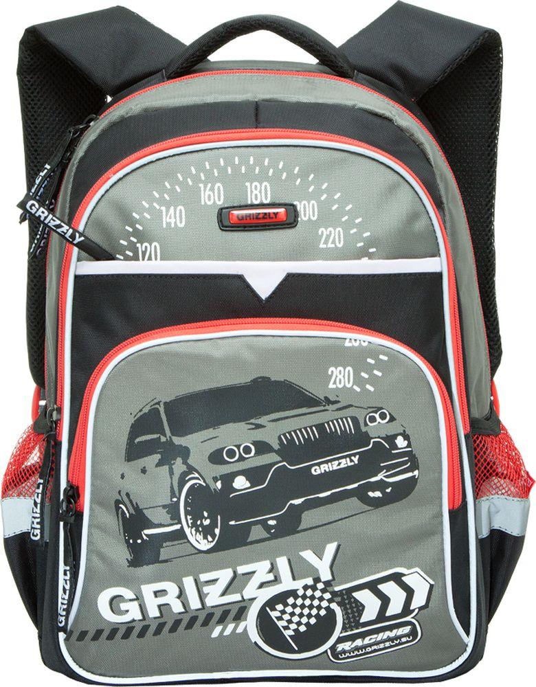 Grizzly Рюкзак детский Racing цвет черный серыйRB-632-3/3Детский рюкзак Grizzly Racing сочетает в себе современный дизайн, функциональность и долговечность. Рюкзак выполнен из плотного материала и оформлен оригинальным изображением. Рюкзак имеет два основных отделения на застежках-молниях. Большое отделение имеет пришивной карман на молнии. Дно рюкзака можно сделать жестким, разложив специальную панель с пластиковой вставкой, что повышает сохранность содержимого рюкзака и способствует правильному распределению нагрузки. Второе отделение не содержит карманов. На лицевой стороне рюкзака располагаются два внешних кармана на застежках-молниях. Один карман содержит сетчатый кармашек на молнии и три небольших открытых кармашка. По бокам рюкзака расположены два открытых кармана на резинке. Рюкзак оснащен петлей для подвешивания и удобной текстильной ручкой для переноски в руке. Широкие регулируемые лямки и сетчатые мягкие вставки на спинке рюкзака предохранят мышцы спины ребенка от перенапряжения при длительном ношении....