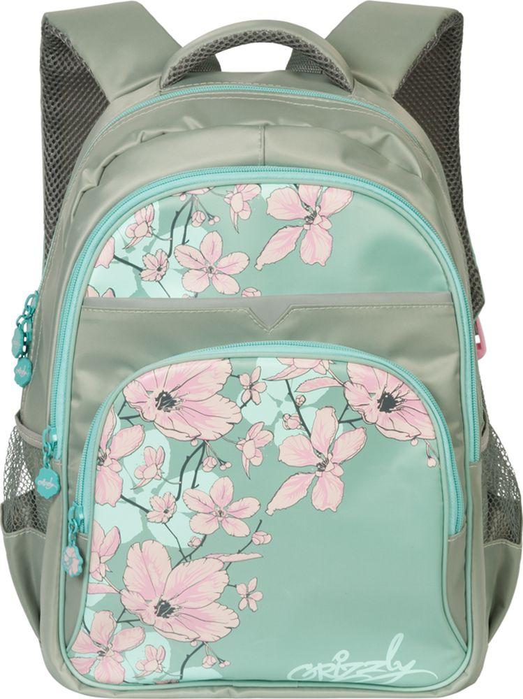 Grizzly Рюкзак школьный цвет серый голубойRG-661-2/2
