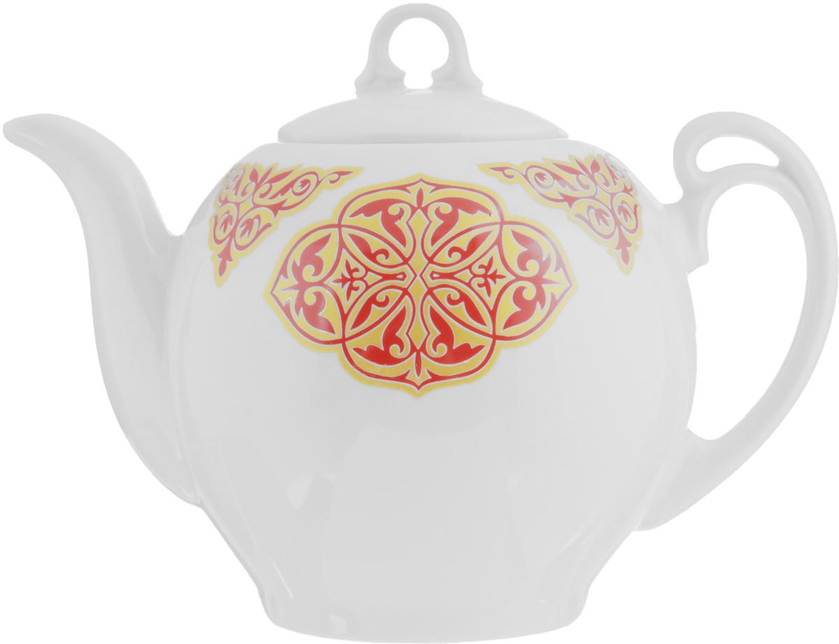 Чайник заварочный Гармония. Восточный, 700 мл507864Заварочный чайник Гармония. Восточный выполнен из высококачественного фарфора и покрыт сверкающей глазурью. Изделие оснащено крышкой. Заварочный чайник Гармония. Восточный придется по вкусу и ценителям классики, и тем, кто предпочитает утонченность и изысканность. Диаметр (по верхнему краю): 7,5 см. Высота чайника (без учета крышки): 12 см.