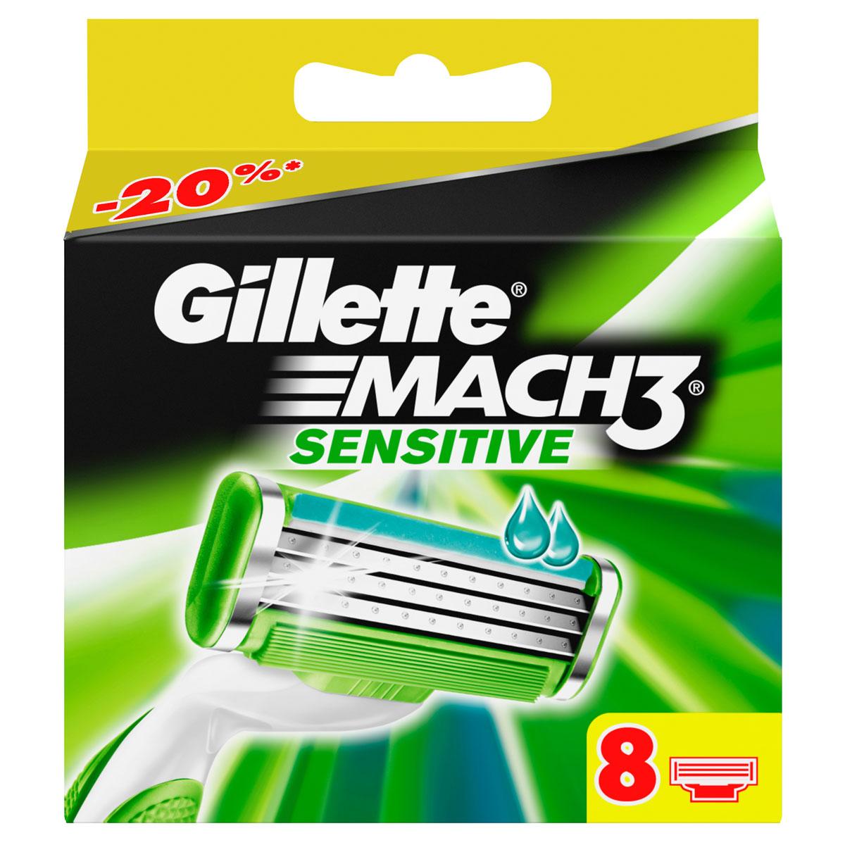 Сменные кассеты для бритья Gillette Mach 3 Sensitive, 8 шт.