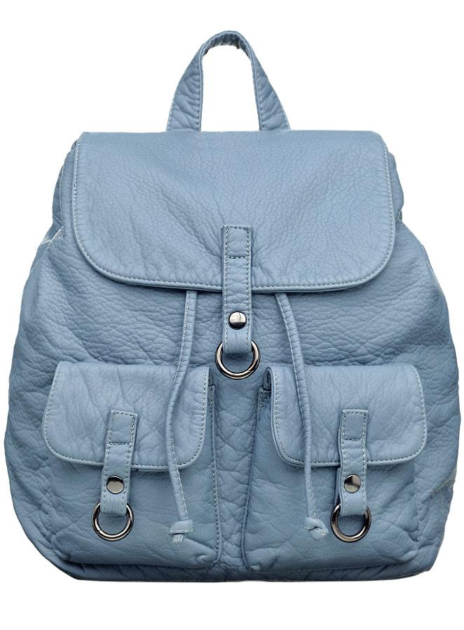 Рюкзак женский OrsOro, цвет: серо-голубой. D-254/8D-254/8Рюкзак на затяжках с клапаном на кнопке, одно отделение, два передних кармана с клапанами на кнопках, внутренний карман на молнии, карман для телефона, задний карман на молнии.