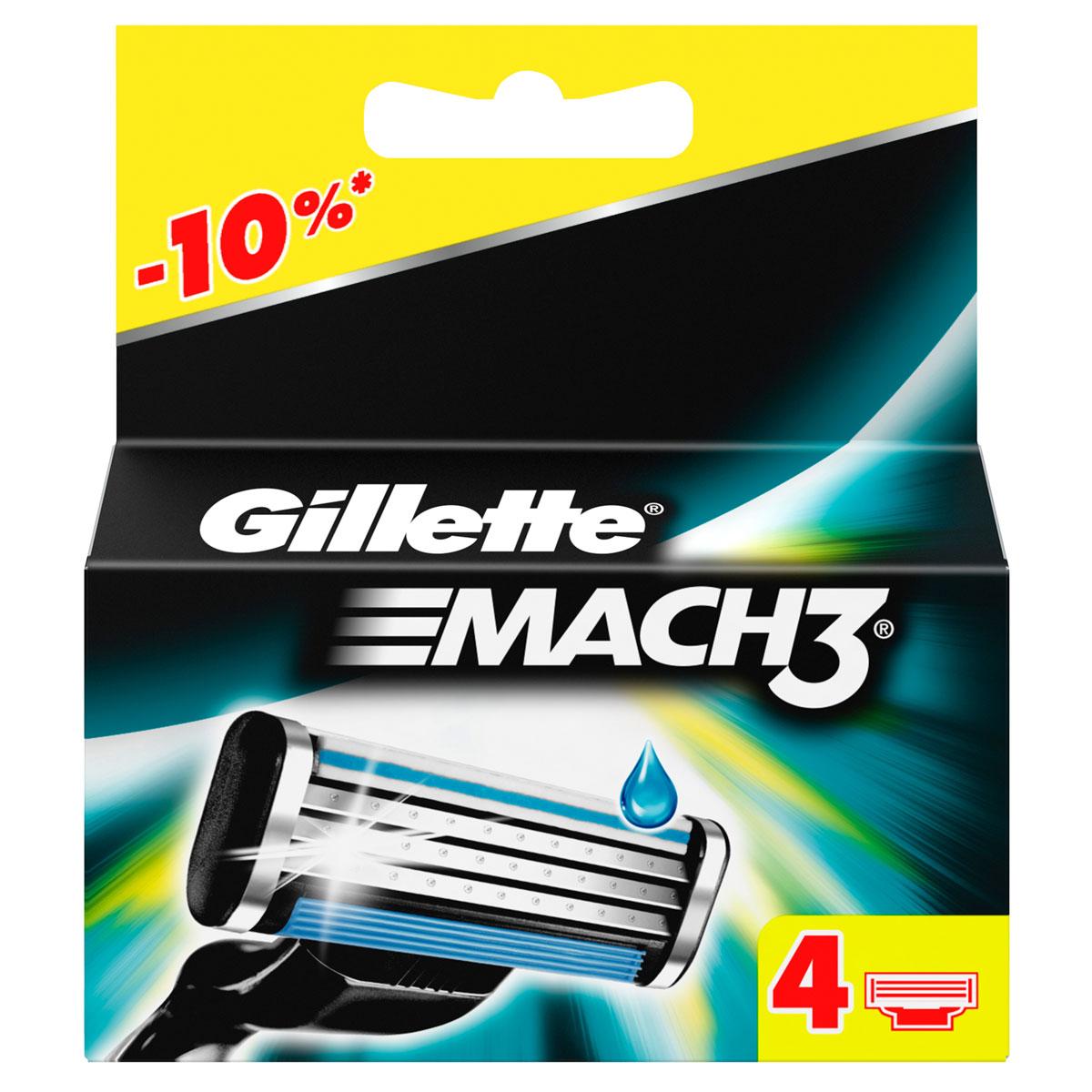 Сменные Кассеты Gillette Mach3 для Мужской Бритвы, 4 шт ( MAG-13284667;MAG-13284667 )