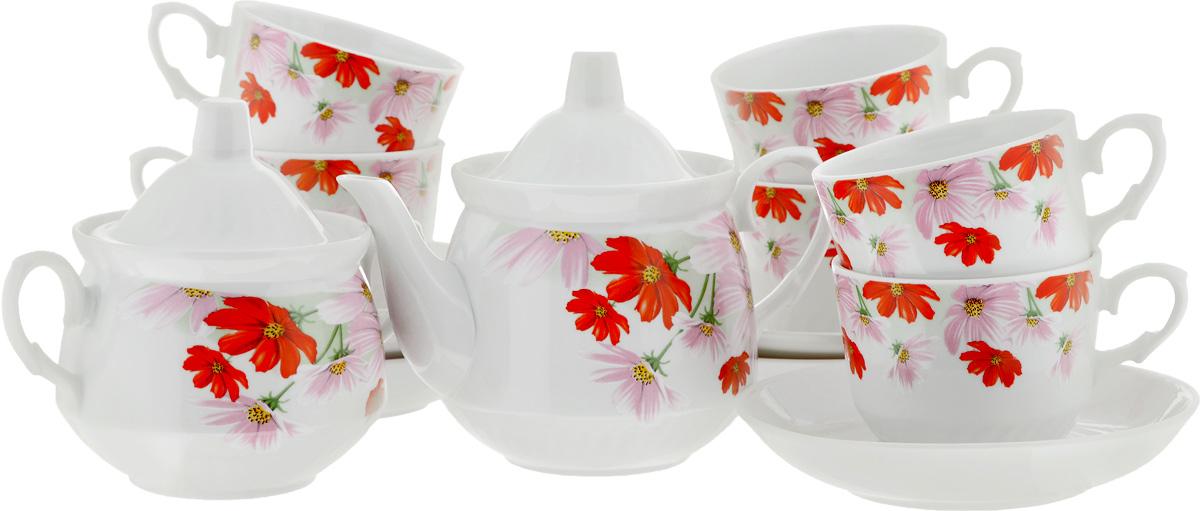 Сервиз чайный Кирмаш. Космея, 14 предметов4С0372Чайный сервиз Кирмаш. Космея состоит из 6 чашек, 6 блюдец, сахарницы и заварочного чайника. Изделия выполнены из высококачественного фарфора и оформлены ярким цветочным рисунком. Изящный чайный сервиз прекрасно оформит стол к чаепитию и порадует вас элегантным дизайном и качеством исполнения. Объем чайника: 1 л. Высота чайника (без учета крышки): 10,5 см. Диаметр чайника (по верхнему краю): 9,5 см. Высота сахарницы (без учета крышки): 9 см. Диаметр сахарницы (по верхнему краю): 10 см. Объем сахарницы: 400 мл. Объем чашки: 220 мл. Диаметр чашки (по верхнему краю): 8,5 см. Высота чашки: 7 см. Диаметр блюдца: 14 см. Высота блюдца: 3 см.