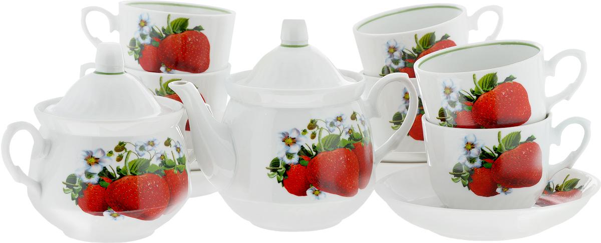Сервиз чайный Кирмаш. Клубника, 14 предметов1224516Чайный сервиз Кирмаш. Клубника состоит из 6 чашек, 6 блюдец, сахарницы и заварочного чайника. Изделия выполнены из высококачественного фарфора и оформлены ярким рисунком. Изящный чайный сервиз прекрасно оформит стол к чаепитию и порадует вас элегантным дизайном и качеством исполнения. Объем чайника: 1 л. Высота чайника (без учета крышки): 10,5 см. Диаметр чайника (по верхнему краю): 9,5 см. Высота сахарницы (без учета крышки): 9 см. Диаметр сахарницы (по верхнему краю): 10 см. Объем сахарницы: 400 мл. Объем чашки: 220 мл. Диаметр чашки (по верхнему краю): 8,7 см. Высота чашки: 7,2 см. Диаметр блюдца: 14 см. Высота блюдца: 3 см.