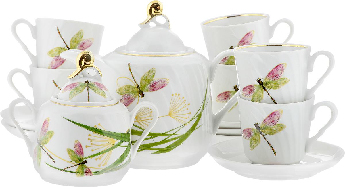 Сервиз чайный Голубка. Стрекоза, 14 предметов9С0422Чайный сервиз Голубка. Стрекоза состоит из 6 чашек, 6 блюдец, сахарницы и заварочного чайника. Изделия выполнены из высококачественного фарфора и оформлены ярким рисунком. Изящный чайный сервиз прекрасно оформит стол к чаепитию и порадует вас элегантным дизайном и качеством исполнения. Объем чайника: 1 л. Высота чайника (без учета крышки): 13 см. Диаметр чайника (по верхнему краю): 8,5 см. Высота сахарницы (без учета крышки): 9 см. Диаметр сахарницы (по верхнему краю): 6,5 см. Объем сахарницы: 400 мл. Объем чашки: 220 мл. Диаметр чашки (по верхнему краю): 8,5 см. Высота чашки: 8 см. Диаметр блюдца: 14 см. Высота блюдца: 3 см.