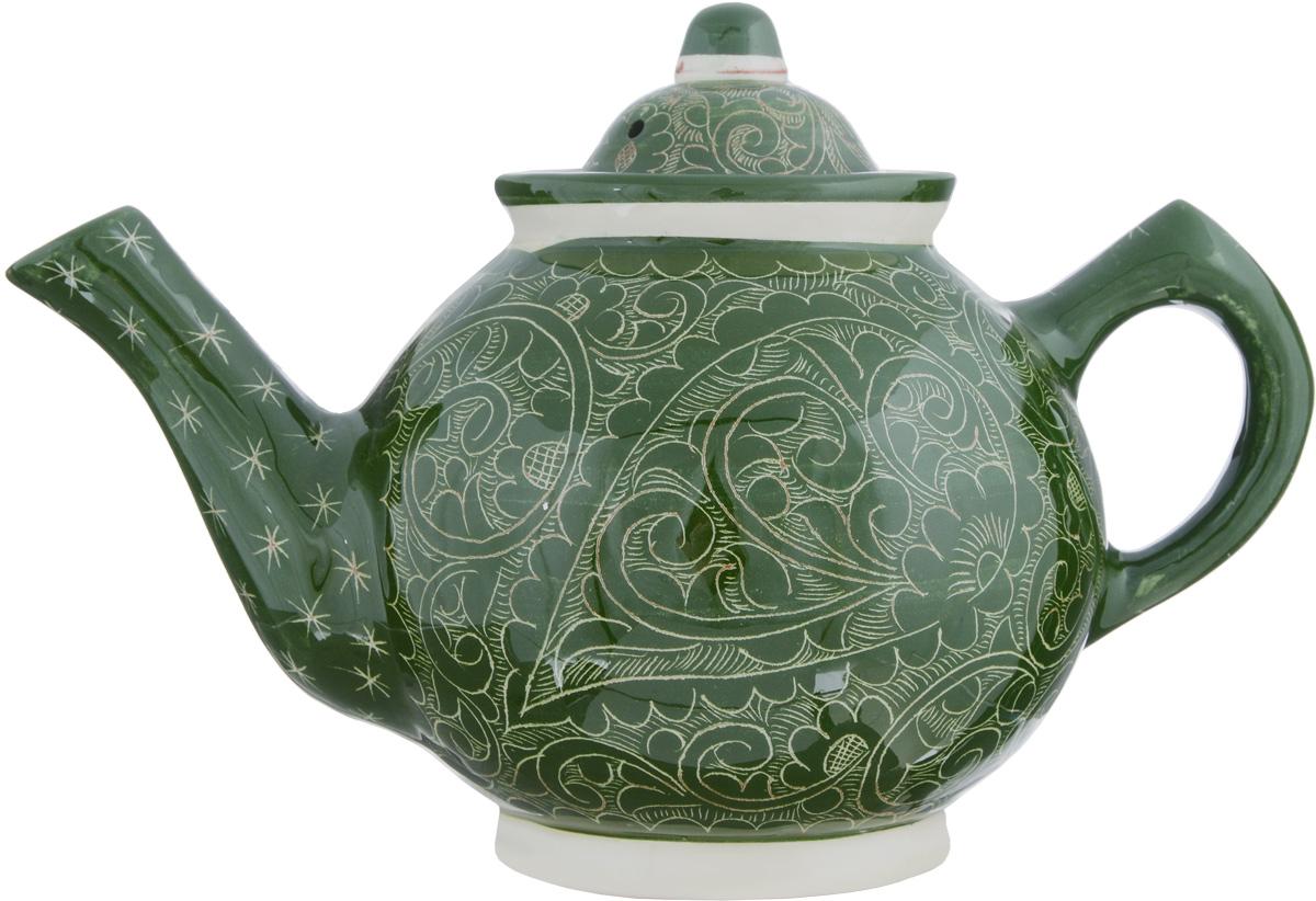 Чайник заварочный Sima-land Риштан, 1 л. 12332271233227Заварочный чайник Sima-land Риштан изготовлен из высококачественной керамики и оформлен ярким рисунком. Такой чайник идеально подойдет для заваривания чая. Он хорошо держит температуру, что способствует более полному раскрытию цвета, аромата и вкуса чайного букета. Изделие прекрасно дополнит сервировку стола к чаепитию и станет его неизменным атрибутом. Диаметр (по верхнему краю): 8,5 см. Высота чайника (без учета крышки): 12,5 см.