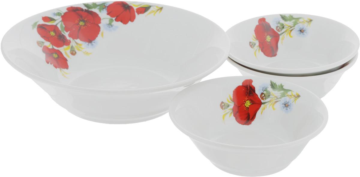 Набор салатников Идиллия. Маки красные, 4 шт1035464Набор Идиллия. Маки красные состоит из 4 салатников. Изделия, изготовленные из высококачественного фарфора, сочетают в себе изысканный дизайн с максимальной функциональностью. Они идеально подходят для сервировки стола и подачи закусок, солений и других блюд. Такие салатники прекрасно впишутся в интерьер вашей кухни и станут достойным дополнением к кухонному инвентарю. Объем салатников: 360 мл; 1,2 л. Диаметр салатников: 14 см; 22 см. Высота салатников: 5 см; 7 см.