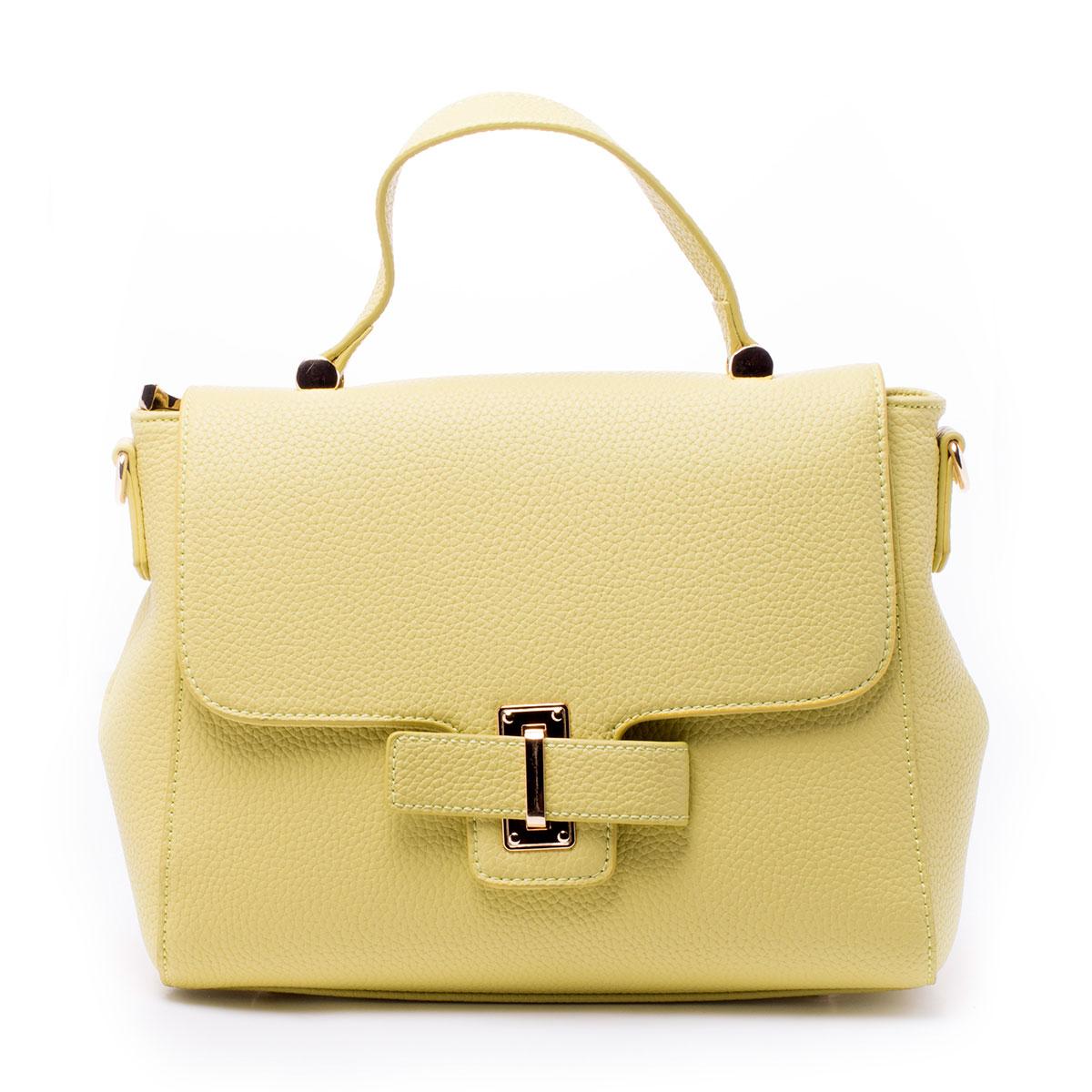 Сумка женская Baggini, цвет: желтый. 29806/8229806/82Стильная женская сумка Baggini выполнена из искусственной кожи. Изделие содержит одно отделение и закрывается на застежку-молнию и клапан с хлястиком. Внутри расположены два накладных кармана, прорезной карман на застежке-молнии и карман-средник на молнии. Задняя сторона сумки дополнена прорезным карманом на молнии. Сумка оснащена одной удобной ручкой средней высоты и съемным плечевым ремнем. Дно сумки дополнено металлическими ножками.