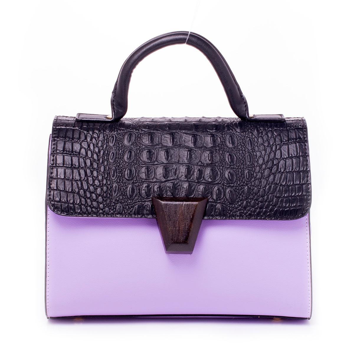 Сумка женская Guanwang, цвет: фиолетовый, черный. 650136-1/45/10650136-1/45/10Сумка жен., иск. кожа