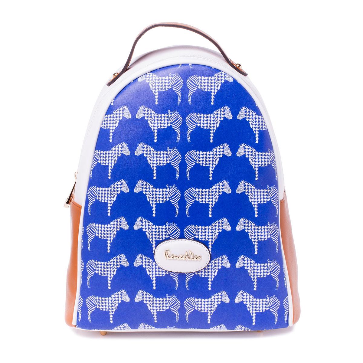 Рюкзак женский Renee Kler, цвет: синий, белый. RK487-06RK487-06Стильный женский рюкзак Renee Kler идеально подойдет под ваш образ. Рюкзак выполнен из качественной искусственной кожи и застегивается на застежку- молнию. Внутри расположено главное отделение, которое состоит из одного кармана на молнии и двух открытых карманов. Рюкзак оснащен лямками, длина которых регулируется. Такой модный и удобный рюкзак станет незаменимым аксессуаром в вашем гардеробе.