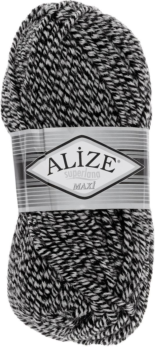 Пряжа для вязания Alize Superlana Maxi, цвет: серый, черный (601), 100 м, 100 г, 5 шт364131_601Пряжа Alize Superlana Maxi обладает плотной скруткой (немного напоминает шнурок), при этом нить мягкая, чуть упругая. Благодаря составу и скрутке петли отлично ложатся одна к другой, вязаное полотно получается ровное и однородное. Пряжа с умеренным, недлинным ворсом, отлично ложится в узор и держит его. Мягкая, очень комфортная как для работы, так и для носки. В качестве моделей для вязки можно рекомендовать плотные вещи: пальто, осенние длинные кардиганы, пончо, болеро, мужские свитера. Рассчитана на любой уровень мастерства, но особенно понравится начинающим мастерицам - благодаря толстой нити пряжа Alize Superlana Maxi позволяет быстро связать простую вещь. Структура и состав пряжи максимально комфортны для вязания. Рекомендуемый размер спиц: № 8-10 мм. Состав: 75% акрил, 25% шерсть.