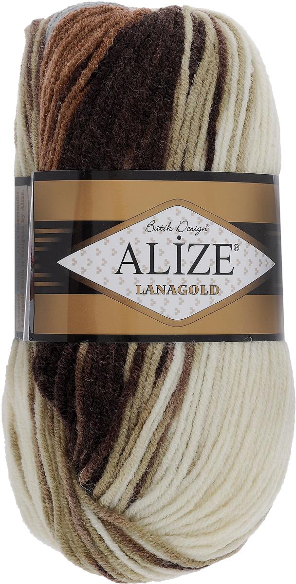 Пряжа для вязания Alize Lanagold Batik, цвет: молочный, серый, коричневый (3341), 240 м, 100 г, 5 шт364096_3341Alize Lanagold - это полушерстяная пряжа для ручного вязания. Нить плотно скручена, гибкая, послушная, не пушится, не электризуется, аккуратно ложится в петли и не деформируется после распускания. Стойкое равномерное окрашивание обеспечивает широкую палитру оттенков. Соотношение шерсти и акрила - формула практичности. Высокие тепловые характеристики сочетаются с эстетикой, носкостью и простотой ухода за вещью. Классическая пряжа для зимнего сезона, может использоваться для детской и взрослой одежды. Alize Lanagold - универсальная пряжа, которая будет хорошо смотреться в узорах любой сложности. Рекомендуемый размер спиц: № 4-6 мм. Состав: 49% шерсть, 51% акрил.