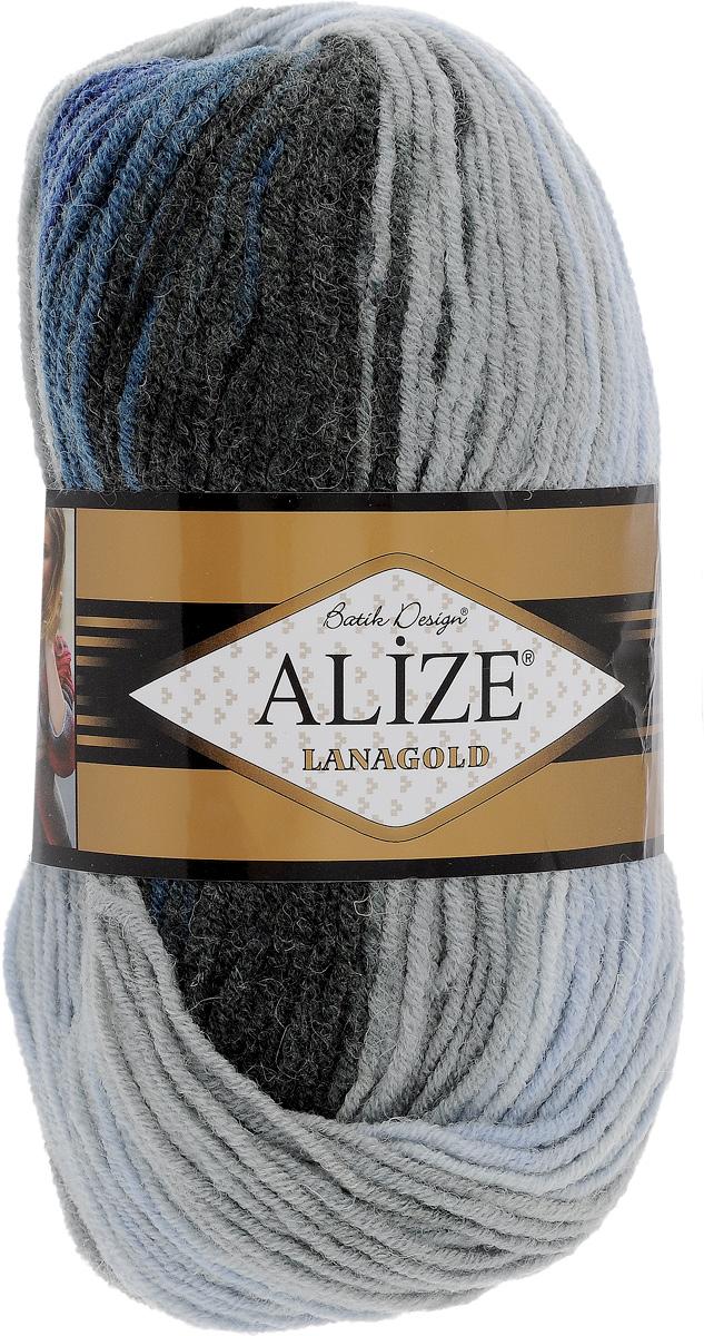 Пряжа для вязания Alize Lanagold Batik, цвет: серый, синий, черный (1600), 240 м, 100 г, 5 шт364096_1600Alize Lanagold - это полушерстяная пряжа для ручного вязания. Нить плотно скручена, гибкая, послушная, не пушится, не электризуется, аккуратно ложится в петли и не деформируется после распускания. Стойкое равномерное окрашивание обеспечивает широкую палитру оттенков. Соотношение шерсти и акрила - формула практичности. Высокие тепловые характеристики сочетаются с эстетикой, носкостью и простотой ухода за вещью. Классическая пряжа для зимнего сезона, может использоваться для детской и взрослой одежды. Alize Lanagold - универсальная пряжа, которая будет хорошо смотреться в узорах любой сложности. Рекомендуемый размер спиц: № 4-6 мм. Состав: 49% шерсть, 51% акрил.