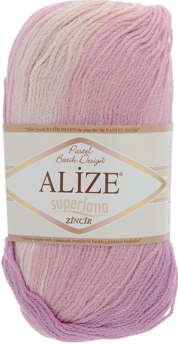 Пряжа для вязания Alize Superlana Zincir Batik, цвет: светло-розовый, розовый, сиреневый (3049), 100 г, 280 м, 5 шт364121_3049Пряжа Alize Superlana Zincir Batik мягкая и приятная, средней толщины. Понравится мастерицам за необычную текстуру нити, напоминающую типом кручения тонкий шнурок, а владелицы готовых вещей оценят роскошную палитру нежнейших меланжевых переходов и изумительных оттенков пастельных тонов. Связать из такой нити можно легкую кофту, стильное платье, берет, и даже оригинальный топ. Рекомендуется для вязания крючком и на спицах 3-4 мм. Состав: 75% акрил, 25% шерсть.