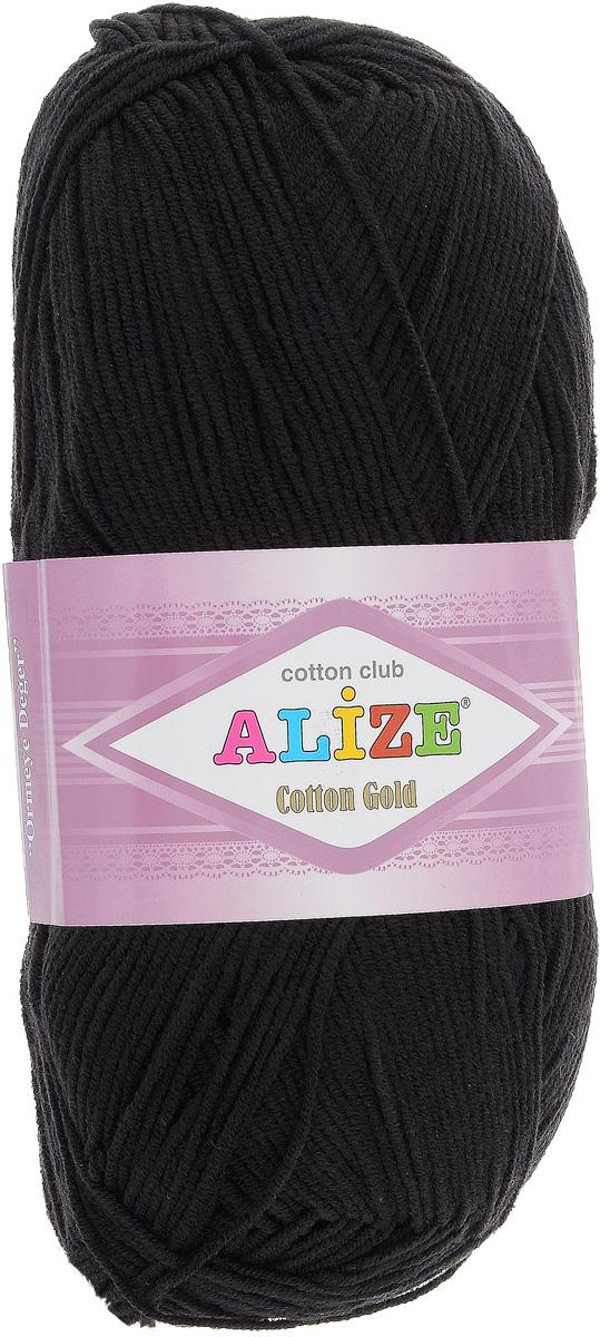 Пряжа для вязания Alize Cotton Gold, цвет: черный (60), 330 м, 100 г, 5 шт697548_60Пряжа для вязания Alize Cotton Gold - это классическая демисезонная пряжа из хлопка с акрилом. Данная пряжа отлично подойдет для изделий осень-весна. Также подходит для вязания летних вещей взрослым и детям. Мягкая и бархатистая на ощупь. Полотно получается пластичным, мягким, все переплетения ровные. Состав: 55% хлопок, 45% акрил. Рекомендуемый размер спиц: № 3,5 - 5. Рекомендуемый размер крючка: № 2 - 4.