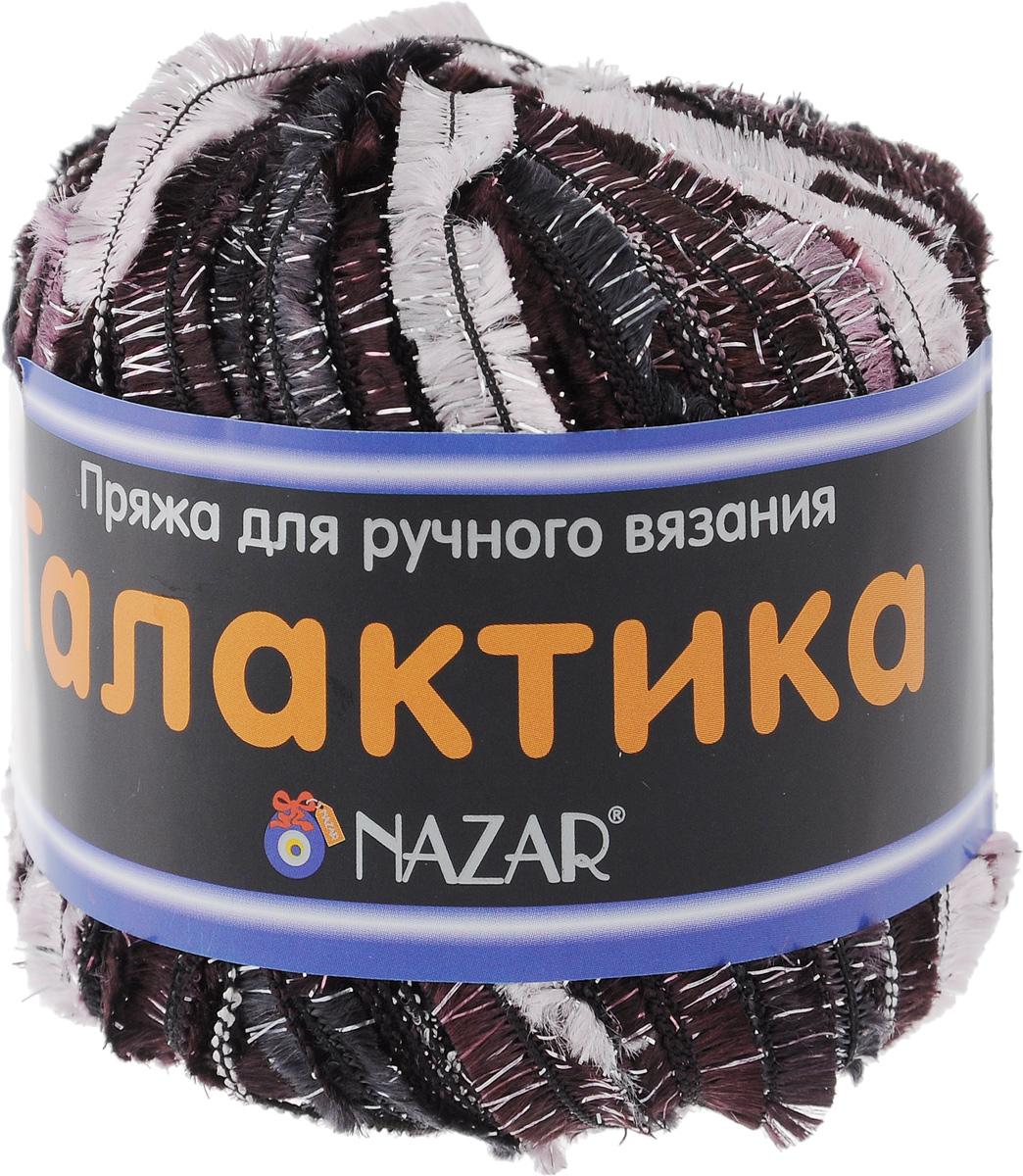 Пряжа для вязания Nazar Галактика, цвет: темно-фиолетовый, темно-синий, сиреневый (2002), 125 м, 50 г, 10 шт349007_2002Пряжа для вязания Nazar Галактика изготовлена из полиэстера с добавлением люрекса. Это очень популярная декоративная пряжа для ручного вязания. Из нее получаются модные и очень красивые палантины, роскошные пелерины и нарядные кофточки. Пряжа очень красивая, вяжется легко и быстро. Может использоваться как основная или отделочная пряжа. Если сложить 1 нить Галактики с 1-й нитью классической пряжи, подходящей по цвету и фактуре, вы можете создать свое неповторимое полотно. Для вязания рекомендуется крючок №5-8 и спицы №5-6. Состав: 80% полиэстер, 20% люрекс. Ширина нити: 10 мм. Комплектация: 10 шт.