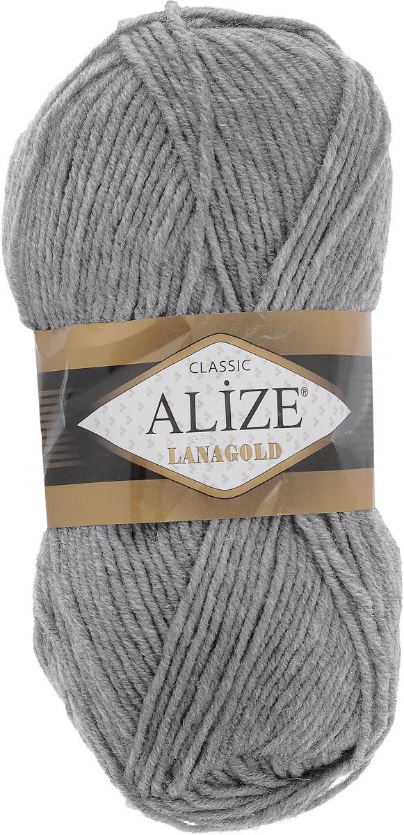 Пряжа для вязания Alize Lanagold, цвет: серый меланж (21), 240 м, 100 г, 5 шт364095_21Alize Lanagold - это полушерстяная пряжа для ручного вязания. Нить плотно скручена, гибкая, послушная, не пушится, не электризуется, аккуратно ложится в петли и не деформируется после распускания. Стойкое равномерное окрашивание обеспечивает широкую палитру оттенков. Соотношение шерсти и акрила - формула практичности. Высокие тепловые характеристики сочетаются с эстетикой и простотой ухода за вещью. Классическая пряжа для зимнего сезона, может использоваться для детской и взрослой одежды. Alize Lanagold - универсальная пряжа, которая будет хорошо смотреться в узорах любой сложности. Рекомендуемый размер спиц: № 4-6 мм. Состав: 49% шерсть, 51% акрил.