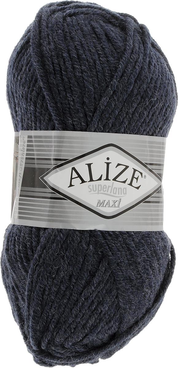 Пряжа для вязания Alize Superlana Maxi, цвет: темно-серый (591), 100 м, 100 г, 5 шт364131_591Пряжа Alize Superlana Maxi обладает плотной скруткой (немного напоминает шнурок), при этом нить мягкая, чуть упругая. Благодаря составу и скрутке петли отлично ложатся одна к другой, вязаное полотно получается ровное и однородное. Пряжа с умеренным, недлинным ворсом, отлично ложится в узор и держит его. Мягкая, очень комфортная как для работы, так и для носки. В качестве моделей для вязки можно рекомендовать плотные вещи: пальто, осенние длинные кардиганы, пончо, болеро, мужские свитера. Рассчитана на любой уровень мастерства, но особенно понравится начинающим мастерицам - благодаря толстой нити пряжа Alize Superlana Maxi позволяет быстро связать простую вещь. Структура и состав пряжи максимально комфортны для вязания. Рекомендуемый размер спиц: № 8-10 мм. Состав: 75% акрил, 25% шерсть.