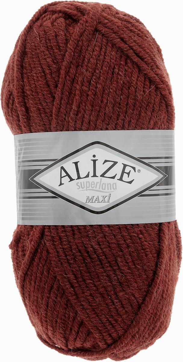 Пряжа для вязания Alize Superlana Maxi, цвет: терракот (588), 100 м, 100 г, 5 шт364131_588Пряжа Alize Superlana Maxi обладает плотной скруткой (немного напоминает шнурок), при этом нить мягкая, чуть упругая. Благодаря составу и скрутке петли отлично ложатся одна к другой, вязаное полотно получается ровное и однородное. Пряжа с умеренным, недлинным ворсом, отлично ложится в узор и держит его. Мягкая, очень комфортная как для работы, так и для носки. В качестве моделей для вязки можно рекомендовать плотные вещи: пальто, осенние длинные кардиганы, пончо, болеро, мужские свитера. Рассчитана на любой уровень мастерства, но особенно понравится начинающим мастерицам - благодаря толстой нити пряжа Alize Superlana Maxi позволяет быстро связать простую вещь. Структура и состав пряжи максимально комфортны для вязания. Рекомендуемый размер спиц: № 8-10 мм. Состав: 75% акрил, 25% шерсть.